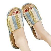 Fankle Unisex Slippers Women's Men's Couple Comfort Household Shoes Indoor Anti-Skid Striped Linen Breathable Bedroom Flip Flops(Yellow,39-40)