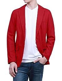 Sourcingmap Men Long Sleeves Notched Lapel One Button Closure Slim Fit Blazer