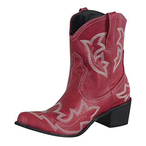 ღLILICATღ Botas Cowboy Mujer con Tacon Botas Moda Western Retro Antideslizantes Cuero Zapatos Invierno...