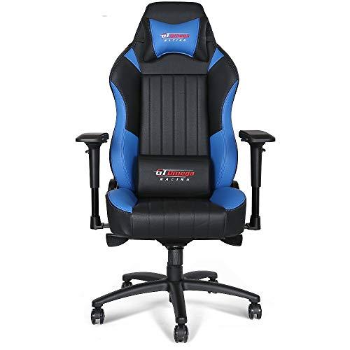 Gt Omega Evo XL Racing - Sedia da ufficio in pelle ideale per i giocatori, colore: nero/blu