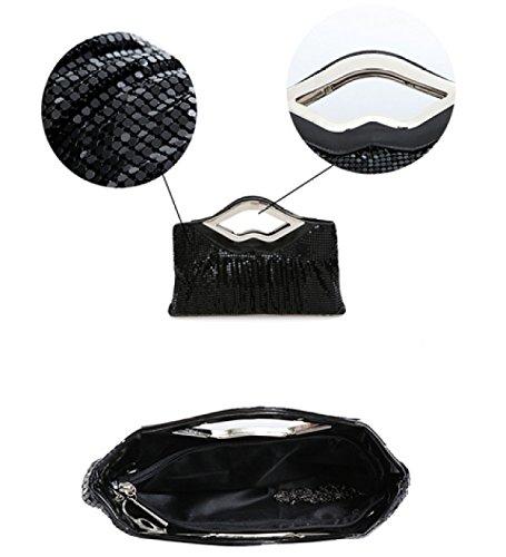 LAIDAYE Art Und Weise Diagonale Weibliche Beutelbraut-Beutelhandbeutel-Abendessenbeutel-Kleidsatz Black