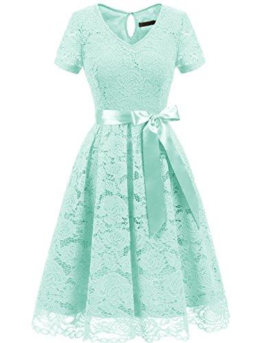 Dresstells Damen Elegant Abendkleider für Hochzeit Herzform Spitzenkleid Cocktail Party Floral Kleid Mint S - Mint Grün-kleid Für Frauen