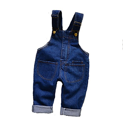 MG Kids Unisex Baby Jumpsuit Dungarees Denim Pull-On Boys Girls Roll-Up Jumpsuit Toddler Jeans 90