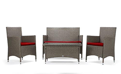 Rattan4Life Sitzgruppe Avignon, 4-teilig Deluxe Polyrattan Gartenmöbel Set, Sofa/Lounge/Gartengarnitur/Kissenbezüge, Rattan grau/braun, Bezug rot -