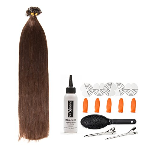 Dunkelbraune Keratin Bonding Extensions aus 100% Remy Echthaar/Human Hair- 25x 1g 50cm Glatte Strähnen - Lange Haare mit Keratin Bondings U-Tip als Haarverlängerung und Haarverdichtung: Farbe #2 Dunkelbraun