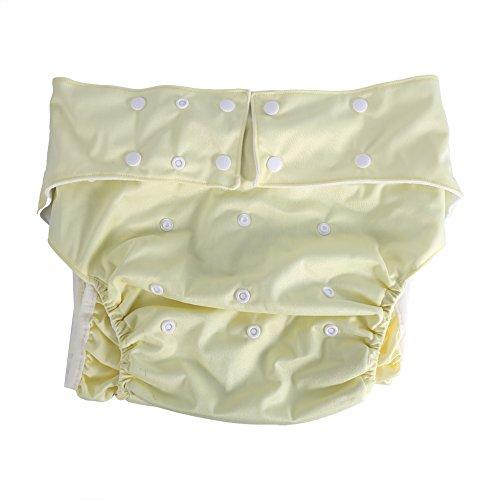 Erwachsene Windelhose Wiederverwendbare, Ultra Saugfähige Inkontinenzhosen mit Doppelte Reihen von Snaps für Größe verstellbar, passend für Hüftumfang 70 - 120 cm (Beige) -