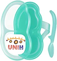 UNIH Baby Feeding Bowl Newborn Food Container with Spoon, Portable Two-Layer Food Storage, BPA Free