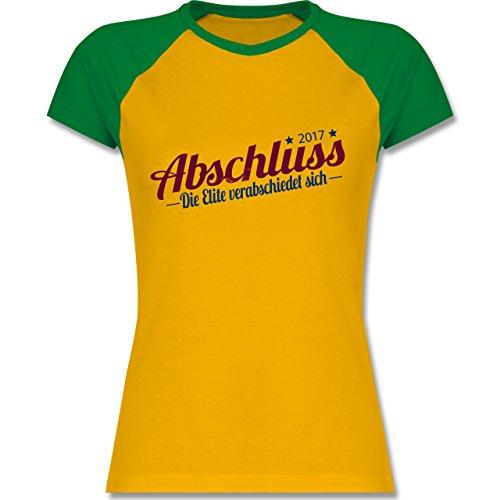 Abi & Abschluss - Abschluss 2017 Die Elite verabschiedet sich - zweifarbiges Baseballshirt / Raglan T-Shirt für Damen Gelb/Grün