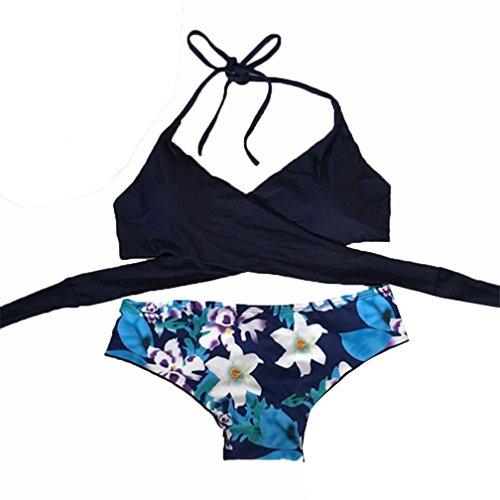 Frauen Sexy Bademode brezeh Bikini Damen Baden passt Badeanzug einem Stück Beachwear L blau (Spandex-zwei Stück 18%)