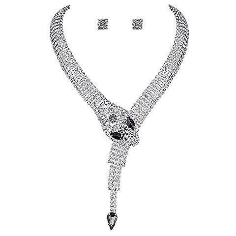 Snake Crystal Jewelery Sets for Women (1 Set Earrings,1 PCS Necklace )