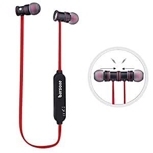 Barsone Bluetooth Headphones,Sweatproof Earphones In-Ear Noise Cancelling Headphones Earbuds with Microphone & Stereo for Running Sports with Magnet Attraction (Red)