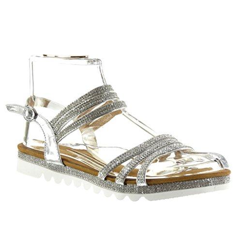 Angkorly Damen Schuhe Sandalen - Sneaker Sohle - String Tanga - Multi-Zaum - Strass Flache Ferse 2.5 cm - Silber YX-27 T 40 (Silber-multi-schuhe)