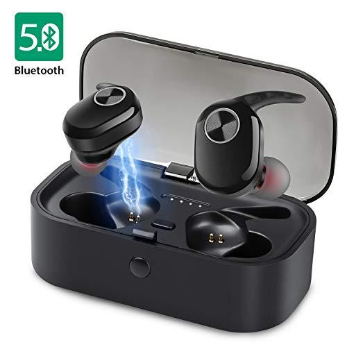 Bluetooth Kopfhörer Wireless in Ear Bass Stereo Kabellos Mini Ohrhörer Bluetooth 5.0 Headset mit Integriertem Mikrofon, IPX6 wasserdich, 20 h Akkulaufzeit, Noise Cancelling, EIN-Tasten-Steuerung - - Taste Stereo