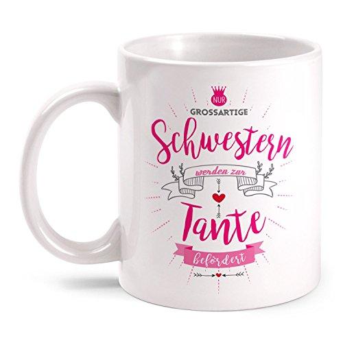 Cafe Schwestern Die (Fashionalarm Tasse Schwestern werden zur Tante befördert beidseitig bedruckt mit Spruch | Geburtstag Geschenk Idee Schwester Geschwister Geburt, Farbe:weiß)