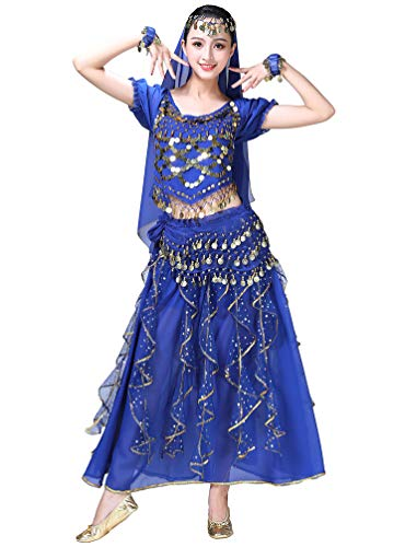Kostüm Der Bilder Bauchtänzerin - Sentaoa Damen Belly Dance Tanz Kostüm Split Bauchtanz Set 5-teiliges Set BH Tops/Rock/Kopf Schleier/Armband/Hüfttuch (Blau#2, One Size)