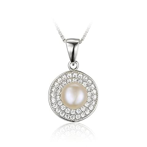 JewelryPalace Women White 7mm AAA Quality Freshwater Cultured Pearl Pendant