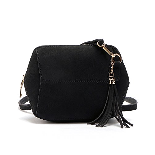 TIFIY Damen Mode Fashion Solide Geometrische Form Quasten Hang Dekoration Faux Suede Mini-Tasche Crossbody Schultertasche Handtasche Viele Farben (Schwarz) (Wildleder Faux Schwarz Quaste)