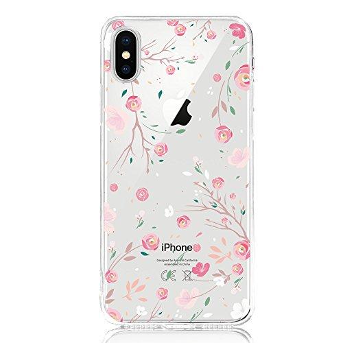 DAPP iPhone X Hülle, Dolce Vita Serie Transparente Silikon Handyhülle für Damen/Mädchen, Durchsichtig mit Rose Blumen Muster