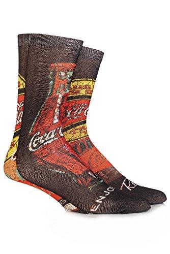 Coca Cola Hommes 1 Paire image Cracked Imprimé Chaussettes 7-12 Noir