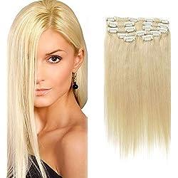 Clip en extensiones de cabello Extensiones verdaderas del pelo humano del 100% Pelo remy para mujeres 8 PCS por juego, Longitud (40,64 cm, 613 color)