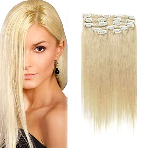 Clip In Hair Extensions gerade blonde Remy Echthaar mit Doppel-Tresse, seidig Clip in Hair Extensions Echthaar 10 A Grade (16 inches, (613 color))