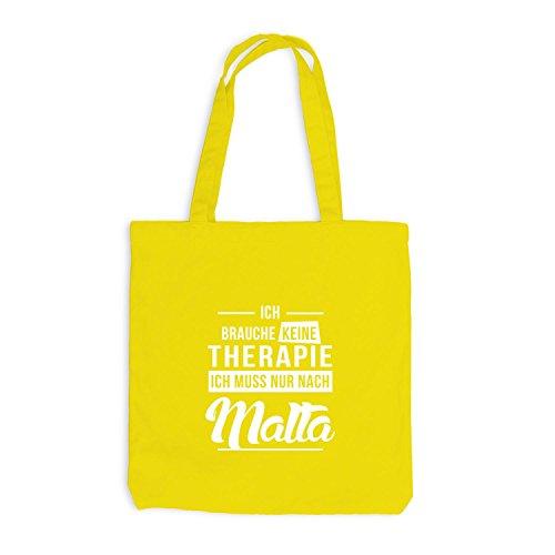 Jutebeutel - Ich Brauche Keine Therapie Malta - Therapy Mittelmeer Urlaub Gelb