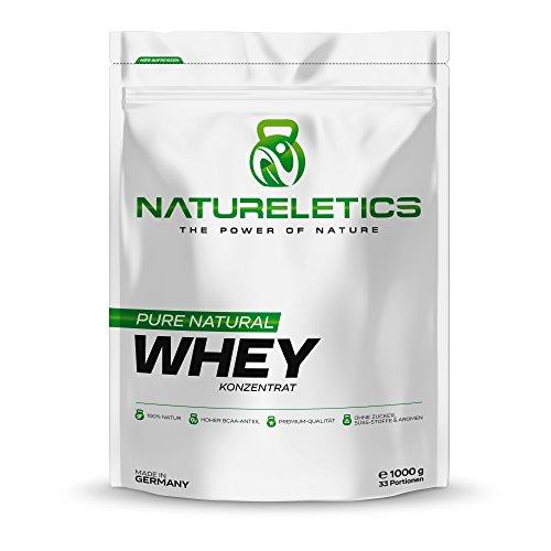 NATURELETICS 1kg 100% natürliches, Premium Whey Protein aus Deutschland, neutral, ohne Zusatz von Zucker, Süßstoffe und Aromen, Eiweißpulver mit hohem BCAA Anteil von 22%, Geschmacksneutral
