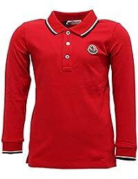 MONCLER 7394Y Polo Bimbo Boy Red Cotton Long Sleeve Polo t-Shirt 5145d551d76