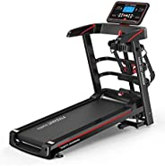 Marshal Fitness Home Use Deluxe Motorized Treadmill Exercise Machine Gym Equipment Treadmill with Massager and Dumbbell-Folda