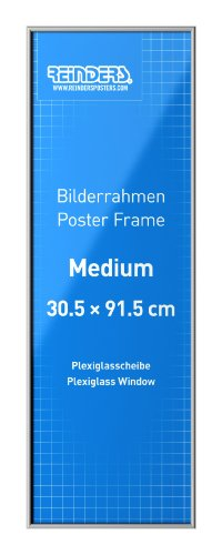 Poster Frame - silver | acrylic | medium // Bilderrahmen medium 30,5 x 91,5 cm // Bilderrahmen für Medium Poster // Poster günstig aufhängen // Wechselrahmen aus bruchsicherem Acrylglas // Reinders #16642