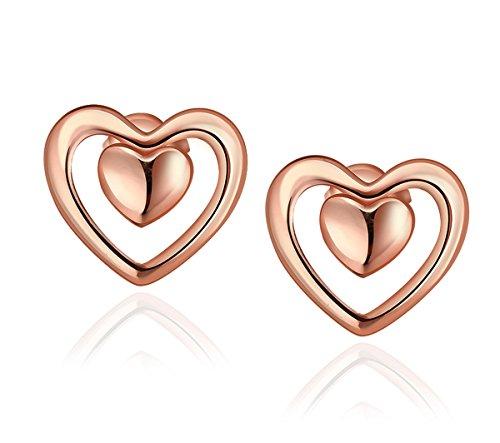 Haut Feminine Tücher (Herz Ohrringe, Frauen Stud für Mama Geschenk mit Rose Gold überzogen Borong)