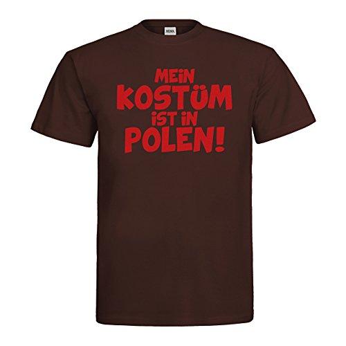 MDMA T-Shirt Mein Kostüm ist in Polen! mdma-t00444-176 Textil brown / Motiv rot Gr. S (Polen Weihnachten Kostüme)