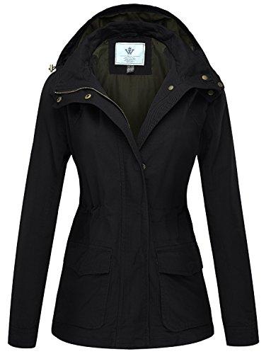 WenVen Femme Blouson en Coton Style Militaire Zippé Slim Fit Veste Légère pour Printemps Automne à Capuche Ajustabl