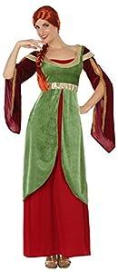 Atosa-38641 Disfraz Dama Medieval, Color Verde y Rojo, M-L (38641)