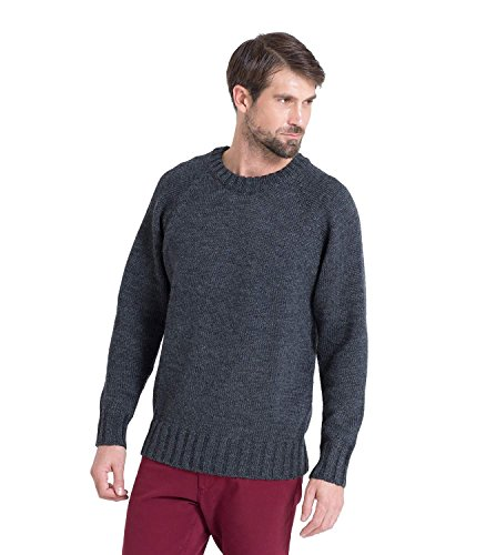 Wool Overs Pull homme en pure laine à col rond Anthracite