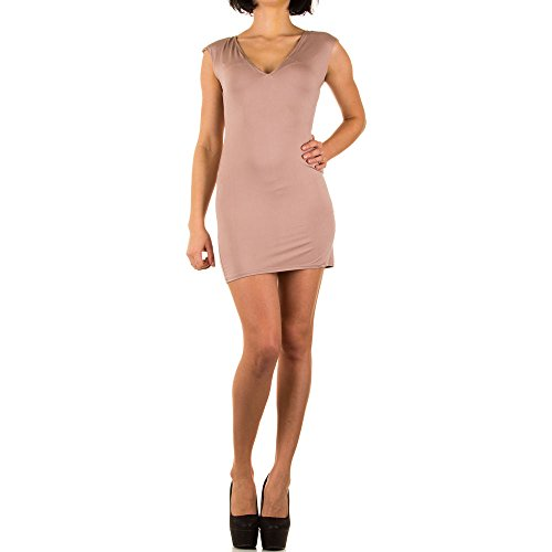 Kleid Damen Cocktail Party Stretch Beige ONE SIZE (Falten Ärmel Einheitliche Kurze)