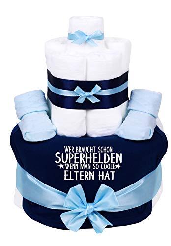Trend Mama Windeltorte hellblau-blau Junge Lätzchen Babysocken Wer braucht schon Superhelden wenn man so coole Eltern hat