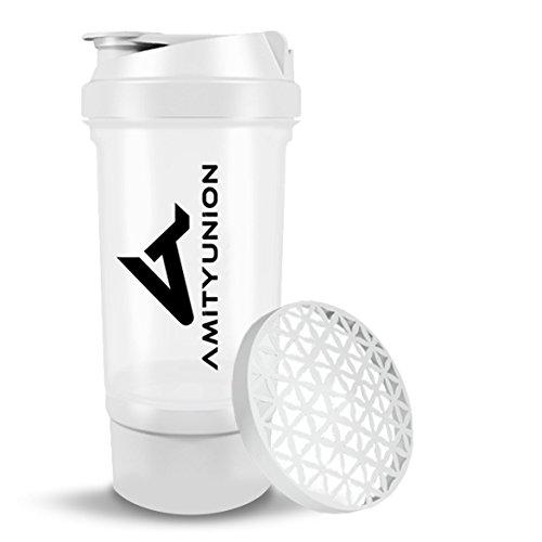 Eiweiß Shaker FYRA 700 ml mit Container und Pulver Fach - Lady Protein Shaker, BPA frei mit Sieb und Skala für Whey und BCCA Shakes, Gym Fitness Becher für Isolate und Diät Sport Konzentrate in Weiß
