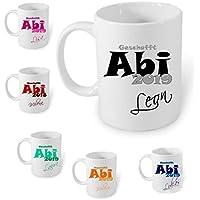 ABI Geschenk 2019 Handmade ~AA311~ Tasse Kaffeebecher Kaffee mit Namen bedruckt Namentasse personalisiert mit Wunschnamen Geschenk zum Abitur VIELE FARBEN