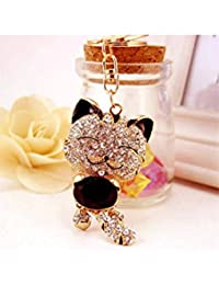 Banggood ELECTROPRIME Crystal Keyring Charm Pendant Bag Key Ring Chain Keychain Fortune Cat Black