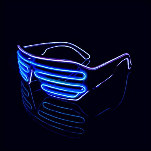 Lerway Weißen Rahmen 2 Farbe EL Wire Leuchtbrille LED Drahtbrille Brillen + Voice Control Box für Weihnachten Tanzen Party Nacht Pub Bar Klub Rave (blau + lila)