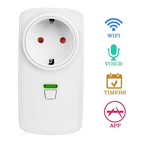 Presa Intelligente, Yokunat Wifi Smart Plug Spina Wireless Controllo Elettrodomestici Funzione Remoto Vocale Timer con Google Home/Amazon Alexa/IFTTT/Eco per iOS Android App
