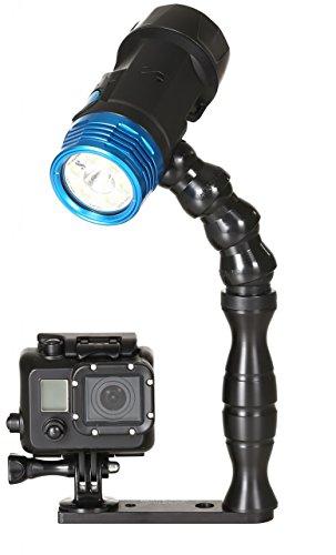 Scubapro NOVA2100SF Set Handgriff Lampenbefestigung Arm mit Schiene & Adapter GoPro Rollei Actionkamera Stativgewinde Tuboflex Flexarm