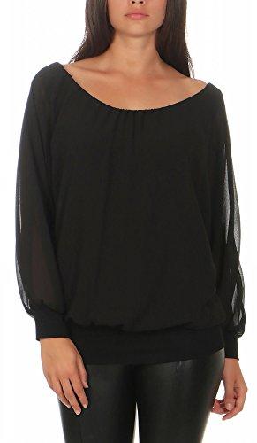 Malito Damen Chiffon Langarm Bluse   Tunika mit weiten Ärmeln   Blusenshirt mit breitem Bund   elegant - schick 6291 (schwarz)