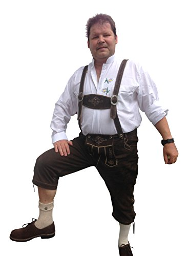 Trachtenhosen Lederhosen Herren Hosen Freizeit Oktoberfest Braun/Dark Echtleder (60)