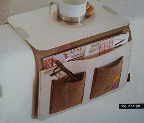 Sofa Butler Carry mit 4 Taschen Ablageplatte braun-weiss 201040202-HE (Sofa-butler)