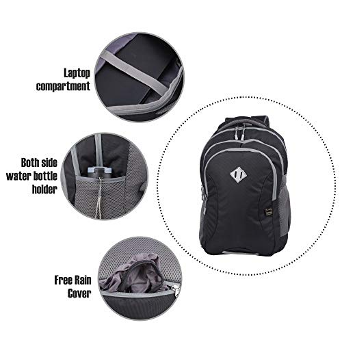 JAPSBAG 30 Ltrs Casual Waterproof Laptop Backpack Bag for Men Women Boys Girls/Office School College Teens & Students with Free RAIN Cover (Black) Image 4