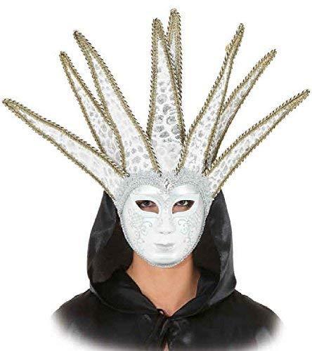 Adulte Femme Kostüm - Fancy Me AdULTES Femmes Herren Venezianer kurz Jester Gold Weiß Vollmaskade Kostüm Maske