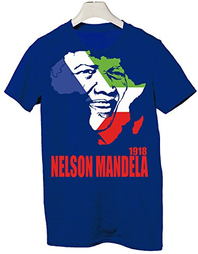 Tshirt tributo Nelson Mandela pace uguaglianza democrazia libertà - Tutte le taglie by tshirteria Blu