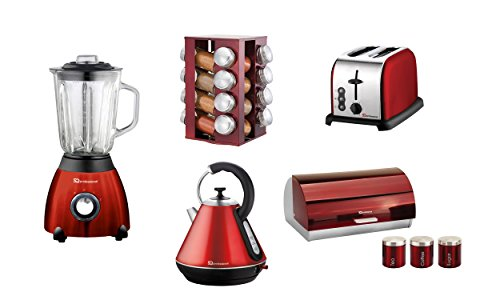 Matching Kitchen Set Of Five Items: Blender, Toaster, Kettle, Bread Bin And Canisters And Spice Rack In Black, Purple Or Red (Red)